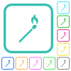 Matchstick vivid colored flat icons - Matchstick vivid colored flat icons in curved borders on white background