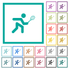 Tennis player flat color icons with quadrant frames on white background - Tennis player flat color icons with quadrant frames