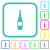 Wine bottle with label vivid colored flat icons - Wine bottle with label vivid colored flat icons in curved borders on white background