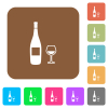Wine bottle and glass rounded square flat icons - Wine bottle and glass flat icons on rounded square vivid color backgrounds.