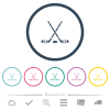 Hockey sticks with puck flat color icons in round outlines - Hockey sticks with puck flat color icons in round outlines. 6 bonus icons included.