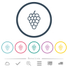 Grapes flat color icons in round outlines - Grapes flat color icons in round outlines. 6 bonus icons included.