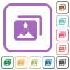 Upload multiple images simple icons in color rounded square frames on white background - Upload multiple images simple icons