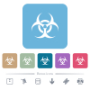 Biohazard sign flat icons on color rounded square backgrounds - Biohazard sign white flat icons on color rounded square backgrounds. 6 bonus icons included