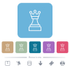 White chess queen flat icons on color rounded square backgrounds - White chess queen white flat icons on color rounded square backgrounds. 6 bonus icons included