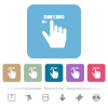 right handed scroll left gesture flat icons on color rounded square backgrounds - right handed scroll left gesture white flat icons on color rounded square backgrounds. 6 bonus icons included