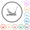Car jack flat icons with outlines - Car jack flat color icons in round outlines on white background