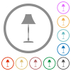 Standing lampshade flat color icons in round outlines on white background - Standing lampshade flat icons with outlines