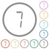 digital number seven of seven segment type flat icons with outlines - digital number seven of seven segment type flat color icons in round outlines on white background