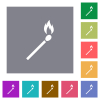 Matchstick square flat icons - Matchstick flat icons on simple color square backgrounds