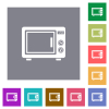 Microwave oven flat icons on simple color square backgrounds - Microwave oven square flat icons