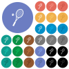 Tennis racket with ball multi colored flat icons on round backgrounds. Included white, light and dark icon variations for hover and active status effects, and bonus shades. - Tennis racket with ball round flat multi colored icons