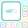 Loading vivid colored flat icons in curved borders on white background - Loading vivid colored flat icons