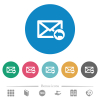 Reply mail flat white icons on round color backgrounds. 6 bonus icons included. - Reply mail flat round icons