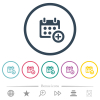 Add to calendar flat color icons in round outlines. 6 bonus icons included. - Add to calendar flat color icons in round outlines