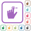 Left handed slide right gesture simple icons - Left handed slide right gesture simple icons in color rounded square frames on white background