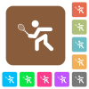 Tennis player rounded square flat icons - Tennis player flat icons on rounded square vivid color backgrounds.