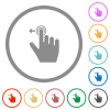 Right handed slide left gesture flat icons with outlines - Right handed slide left gesture flat color icons in round outlines on white background
