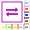 Exchange flat color icons in square frames on white background - Exchange flat framed icons
