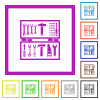 Open toolbox flat framed icons - Open toolbox flat color icons in square frames on white background