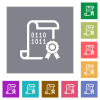 Digital certificate square flat icons - Digital certificate flat icons on simple color square backgrounds