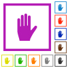 Left hand flat color icons in square frames on white background