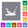 Car jack square flat icons - Car jack flat icons on simple color square backgrounds