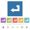 Return key flat white icons in square backgrounds. 6 bonus icons included. - Return key flat white icons in square backgrounds