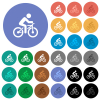 Bicycle with rider multi colored flat icons on round backgrounds. Included white, light and dark icon variations for hover and active status effects, and bonus shades. - Bicycle with rider round flat multi colored icons
