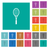 Single tennis racket multi colored flat icons on plain square backgrounds. Included white and darker icon variations for hover or active effects. - Single tennis racket square flat multi colored icons