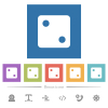 Dice two flat white icons in square backgrounds - Dice two flat white icons in square backgrounds. 6 bonus icons included.