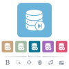 Database macro next white flat icons on color rounded square backgrounds. 6 bonus icons included