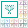 Tennis rackets with ball flat color icons with quadrant frames on white background - Tennis rackets with ball flat color icons with quadrant frames