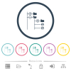 File browser with jpg files flat color icons in round outlines - File browser with jpg files flat color icons in round outlines. 6 bonus icons included.