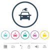 Electric car with connector flat color icons in round outlines. 6 bonus icons included. - Electric car with connector flat color icons in round outlines