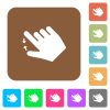 Right handed pinch close gesture rounded square flat icons - Right handed pinch close gesture flat icons on rounded square vivid color backgrounds.