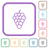 Grapes simple icons - Grapes simple icons in color rounded square frames on white background