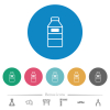 Water bottle with label flat round icons - Water bottle with label flat white icons on round color backgrounds. 6 bonus icons included.