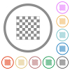 Chess board flat color icons in round outlines on white background - Chess board flat icons with outlines