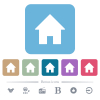 Home flat icons on color rounded square backgrounds - Home white flat icons on color rounded square backgrounds. 6 bonus icons included