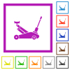 Car jack flat framed icons - Car jack flat color icons in square frames on white background