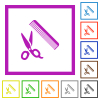 Comb and scissors flat color icons in square frames on white background - Comb and scissors flat framed icons