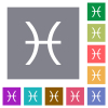 Pisces zodiac symbol square flat icons - Pisces zodiac symbol flat icons on simple color square backgrounds