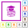 Graduation cap with books flat framed icons - Graduation cap with books flat color icons in square frames on white background