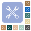 Two wrenches rounded square flat icons - Two wrenches white flat icons on color rounded square backgrounds