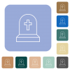 Tombstone with cross white flat icons on color rounded square backgrounds