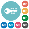 2048 bit rsa encryption flat white icons on round color backgrounds