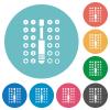 Set of screwdriver bits flat round icons - Set of screwdriver bits flat white icons on round color backgrounds