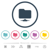 Network folder flat color icons in round outlines. 6 bonus icons included. - Network folder flat color icons in round outlines
