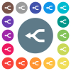 Merge arrows left flat white icons on round color backgrounds - Merge arrows left flat white icons on round color backgrounds. 17 background color variations are included.